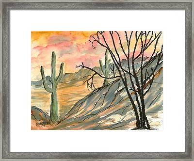 Arizona Evening Southwestern Landscape Painting Poster Print  Framed Print by Derek Mccrea