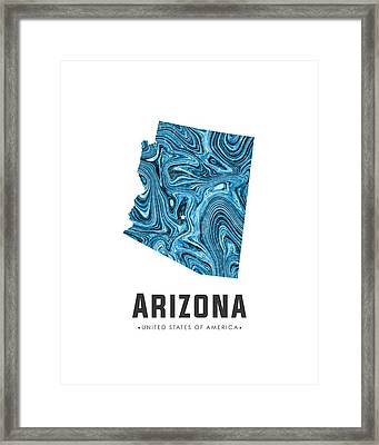 Arizona Map Art Abstract In Blue Framed Print