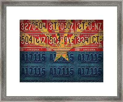 Arizona State Flag Vintage License Plate Art Framed Print