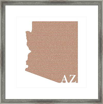 Arizona State Map With Text Of Constitution Framed Print