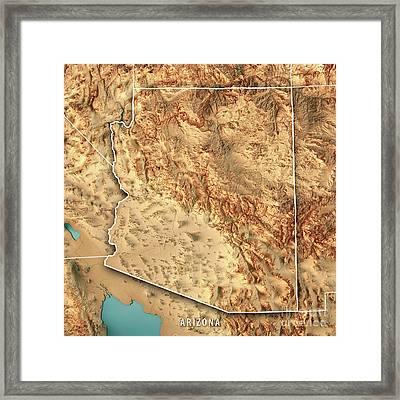 Arizona State Usa 3d Render Topographic Map Border Framed Print