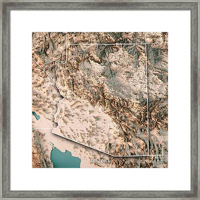 Arizona State Usa 3d Render Topographic Map Neutral Framed Print