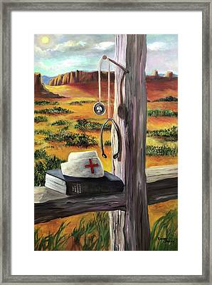 Framed Print featuring the painting Arizona The Nurse And Hope by Randol Burns
