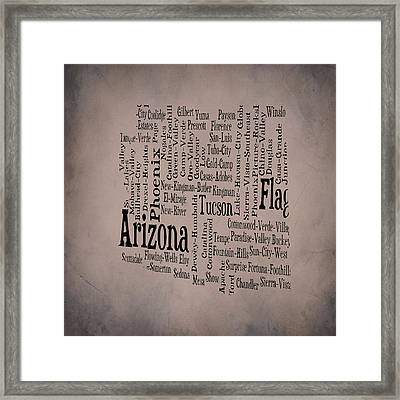 Arizona Typographic Map 1b Framed Print by Brian Reaves