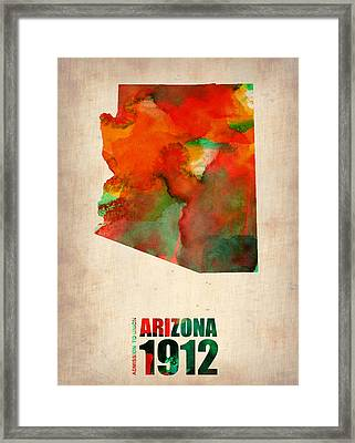 Arizona Watercolor Map Framed Print by Naxart Studio