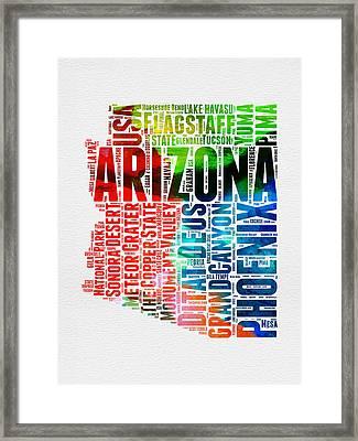 Arizona Watercolor Word Cloud Map  Framed Print by Naxart Studio