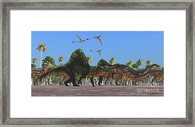 Arizonasaurus And Plateosaurus Dinosaurs Framed Print by Corey Ford