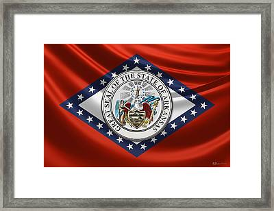 Arkansas Great Seal Over State Flag Framed Print by Serge Averbukh