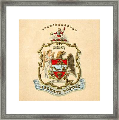 Arkansas Historical Coat Of Arms Circa 1876 Framed Print by Serge Averbukh