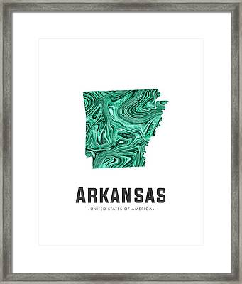 Arkansas Map Art Abstract In Green Framed Print