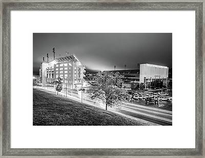 Arkansas Razorback Football Stadium At Night - Fayetteville Arkansas Black And White Framed Print