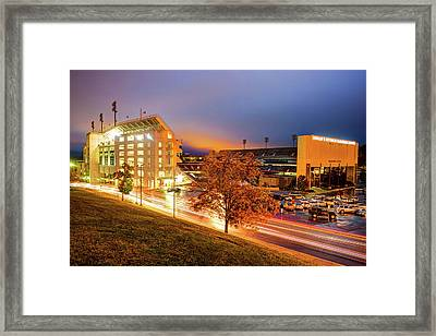 Arkansas Razorback Football Stadium At Night - Fayetteville Arkansas Framed Print by Gregory Ballos