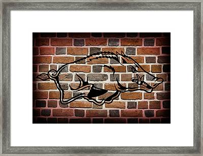 Arkansas Razorbacks Brick Wall Framed Print by Daniel Hagerman