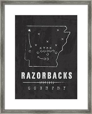 Arkansas Razorbacks / Ncaa College Football Art / Fayetteville Framed Print by Damon Gray