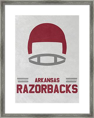 Arkansas Razorbacks Vintage Football Art Framed Print by Joe Hamilton