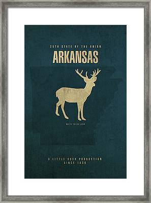 Arkansas State Facts Minimalist Movie Poster Art Framed Print