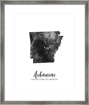 Arkansas State Map Art - Grunge Silhouette Framed Print