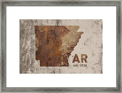 Arkansas State Map Industrial Rusted Metal On Cement Wall With Founding Date Series 034 Framed Print