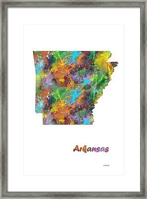 Arkansas State Map Framed Print by Marlene Watson