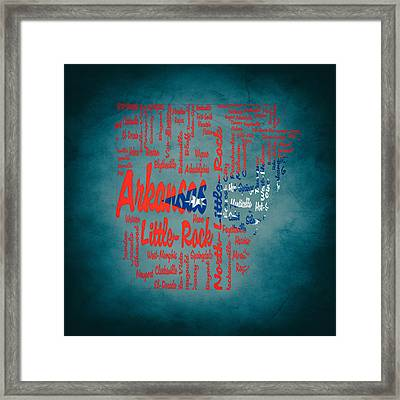 Arkansas Typographic Map 1b Framed Print by Brian Reaves