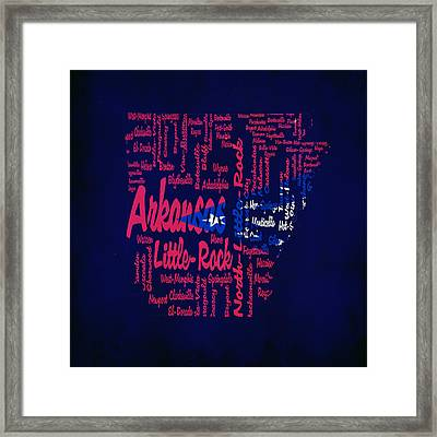 Arkansas Typographic Map1a Framed Print by Brian Reaves