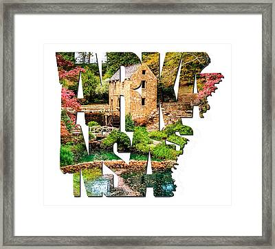 Arkansas Typography - Afternoon At The Old Mill - Arkansas Framed Print