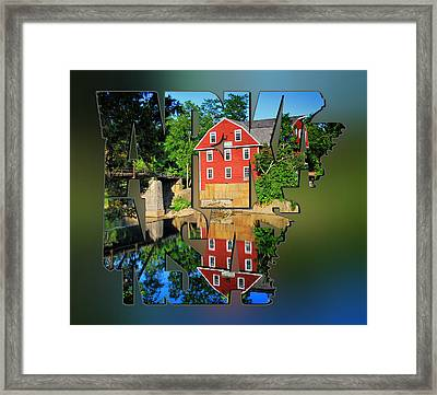 Arkansas Typography Blur - State Shapes Series - War Eagle Mill And Bridge - Arkansas Framed Print