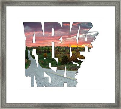 Arkansas Typography - Country Back Roads Framed Print by Gregory Ballos