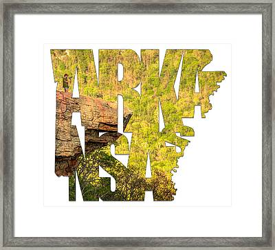 Arkansas Typography - Perspective - Whitaker Point Hawksbill Crag Framed Print by Gregory Ballos