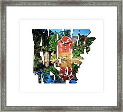 Arkansas Typography - War Eagle Mill And Bridge - Arkansas Framed Print by Gregory Ballos