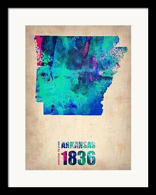 Arkansas State Map Framed Prints