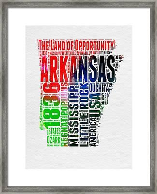 Arkansas Watercolor Word Cloud  Framed Print