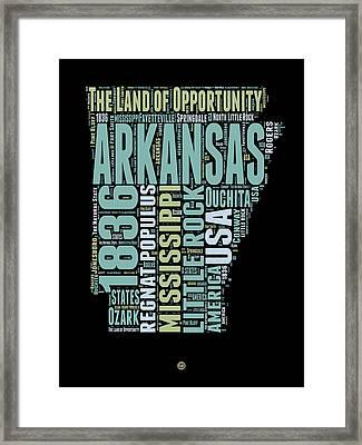 Arkansas Word Cloud 1 Framed Print