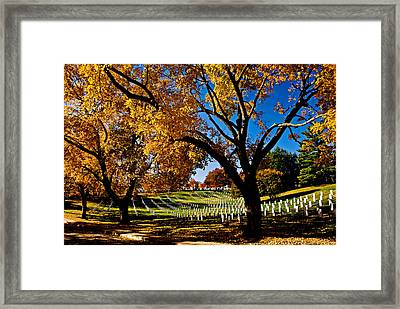 Arlington Cemetery In The Fall Framed Print