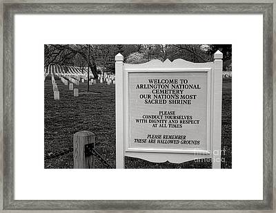 Arlington Cemetery Sign Framed Print by Olivier Le Queinec