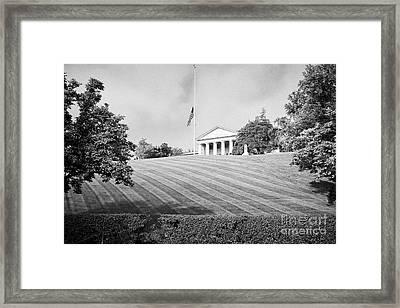 arlington house with flag at half mast arlington cemetery Washington DC USA Framed Print