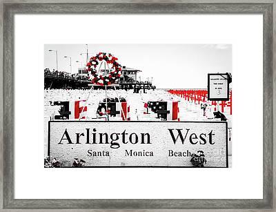 Arlington West Santa Monica Beach Framed Print by Julian Starks