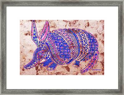 Framed Print featuring the painting Armadillo by J- J- Espinoza