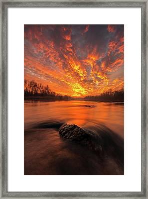 Fire On Sky Framed Print by Davorin Mance