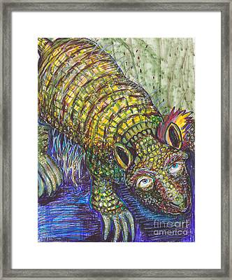 Armed Armadillo With Trump Eyes And Hair Framed Print by Susan Brown    Slizys art signature name