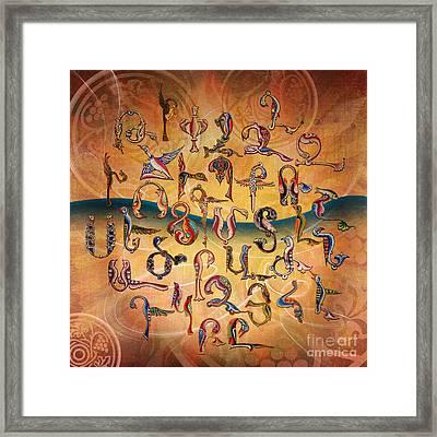 Armenian Birds Alphabet Framed Print by Bedros Awak