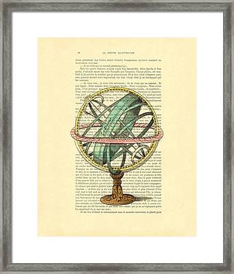 Armillary Sphere In Color Antique Illustration On Book Page Framed Print