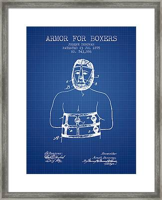 Armor For Boxers Patent From 1895 - Blueprint Framed Print by Aged Pixel