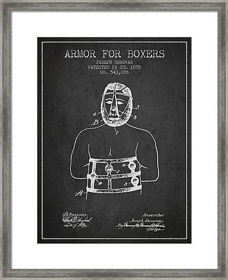 Armor For Boxers Patent From 1895 - Charcoal Framed Print by Aged Pixel