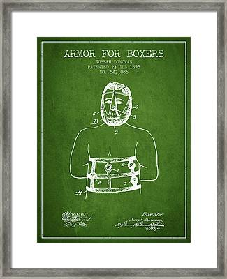 Armor For Boxers Patent From 1895 - Green Framed Print by Aged Pixel