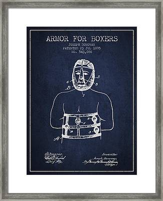 Armor For Boxers Patent From 1895 - Navy Blue Framed Print by Aged Pixel