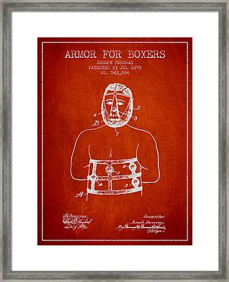 Armor For Boxers Patent From 1895 - Red Framed Print by Aged Pixel