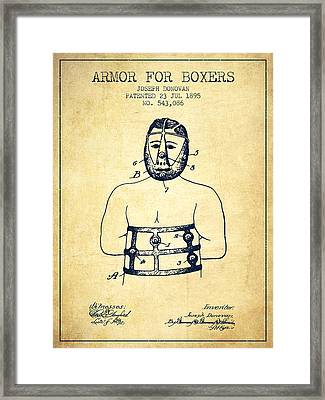 Armor For Boxers Patent From 1895 - Vintage Framed Print by Aged Pixel