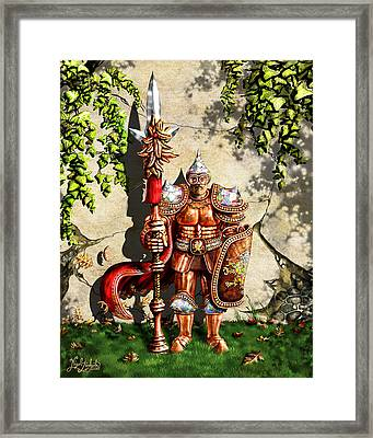Armored Imperial Gryphon Guard Wielding A Shield And Ranseur Framed Print by Nigel Andreola