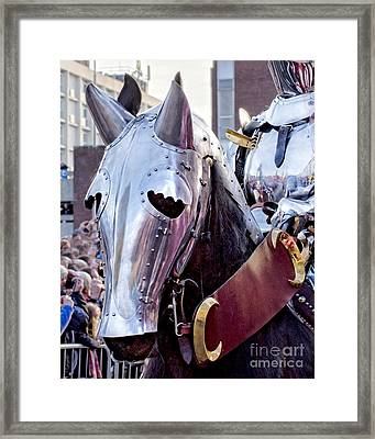 Armoured Horse And Knight Framed Print by Linsey Williams